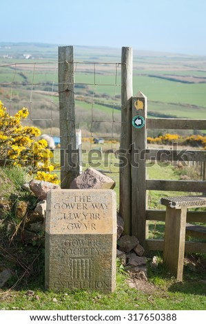WALES, UK - APRIL 15: One of many gateways marking The Gower Way, a coastal walk of outstanding natural beauty in Wales, UK on April 15, 2015 - stock photo