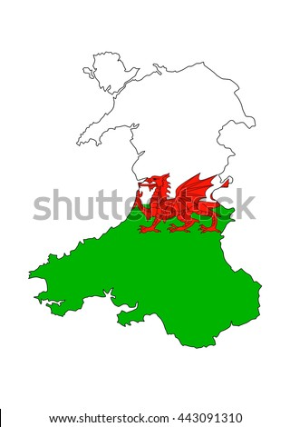 wales uk country flag map shape illustration