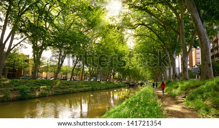 walk along the canal of midi in Toulouse, France - stock photo