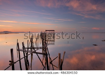 walk by the river , Pier stilts, pier of Carrasqueira,alcacer do sal, Alentejo, Portugal