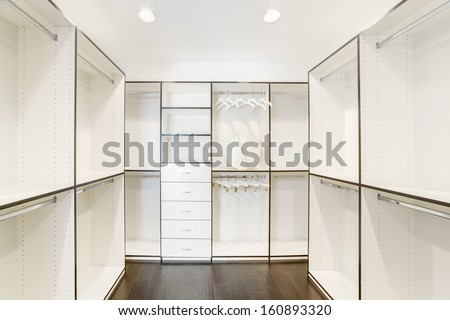 Walk-in closet in a luxury house. - stock photo