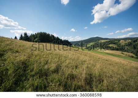 Walk in the Slovak nature - meadows, hills, mountains and blue skies