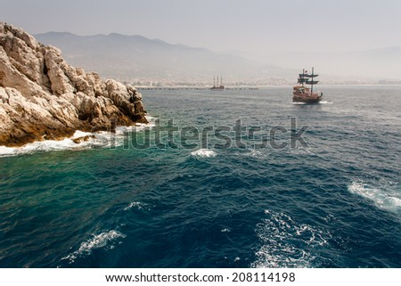 Walk on a beautiful yacht in Mediterranean sea, Alanya, Turkey.  - stock photo