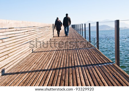 Walk on the wooden bridge in the sunny winter day
