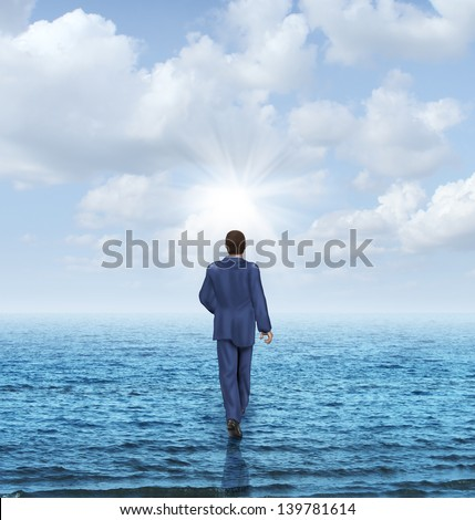 Walk on water with a businessman walking on the surface of an ocean as a business concept of confidence and courage to take on an impossible challenge and achieve success with the power of belief. - stock photo