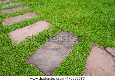Walk path with green grass background.
