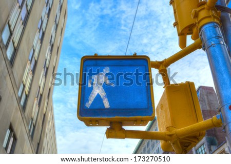 walk sign in New York - stock photo