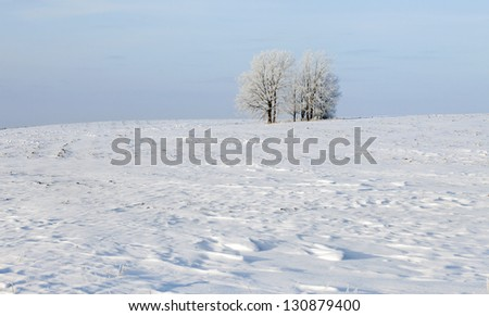 Walk through the beautiful winter scene in Russia - stock photo