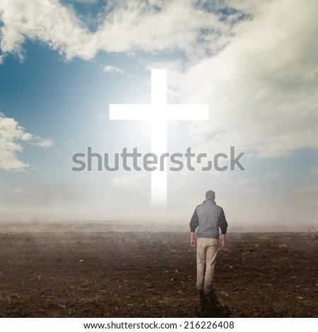 Walk to the Christian Cross - stock photo