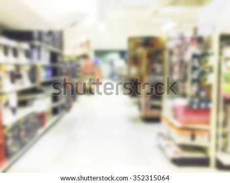 walk way aisle for shopping,some scene of grocery store in united state,USA.-blurred. - stock photo