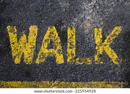 Walk way sign on pedestrian  - stock photo