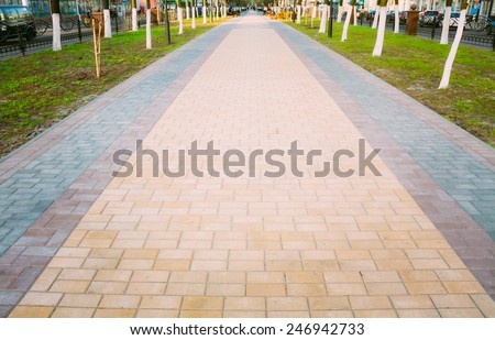 Walk Way Surface Of Colorful Concrete Blocks
