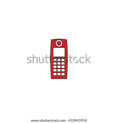 walkie talkie Simple red icon on white background. Flat pictogram - stock photo