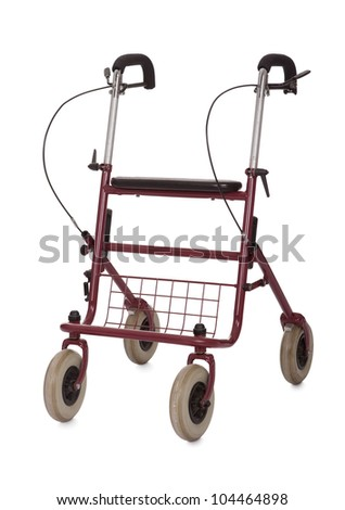 Walking aide trolley for seniors. Isolated on white