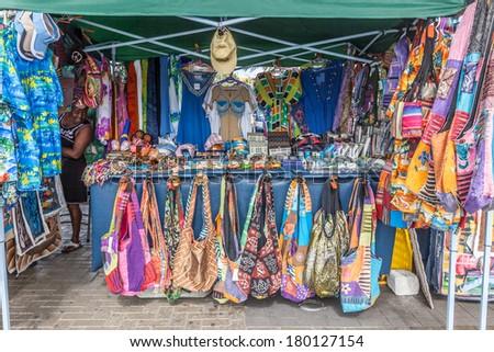 Walking around Willemstad Punda and Otrobanda at Christmas Time Curacao - stock photo