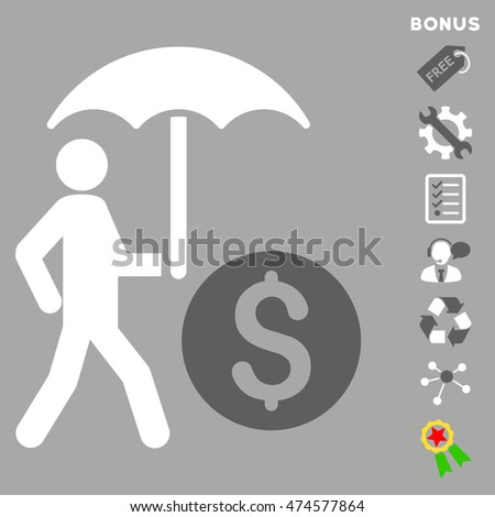 Walking Banker With Umbrella icon with bonus pictograms. Glyph illustration style is flat iconic bicolor symbols, dark gray and white colors, silver background, rounded angles.