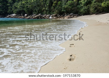 Walking Besides the Sea at Ilha Grande Tropical Island. Rio do Janeiro. Brazil. South America Adventure. - stock photo