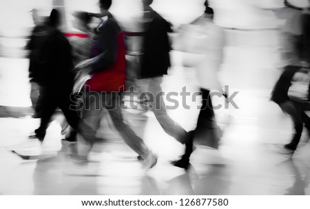 walking business people side view abstract blur motion - stock photo