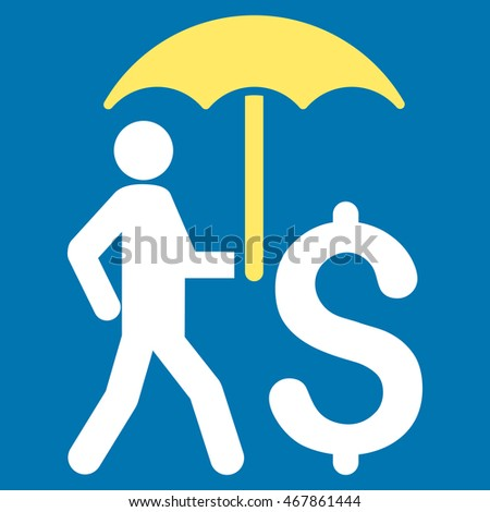 Walking Businessman With Umbrella icon. Glyph style is bicolor flat iconic symbol with rounded angles, yellow and white colors, blue background.