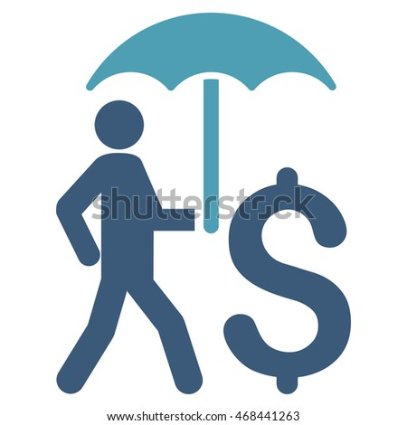 Walking Businessman With Umbrella icon. Glyph style is bicolor flat iconic symbol with rounded angles, cyan and blue colors, white background.