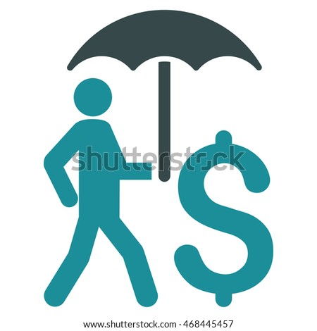 Walking Businessman With Umbrella icon. Glyph style is bicolor flat iconic symbol with rounded angles, soft blue colors, white background.