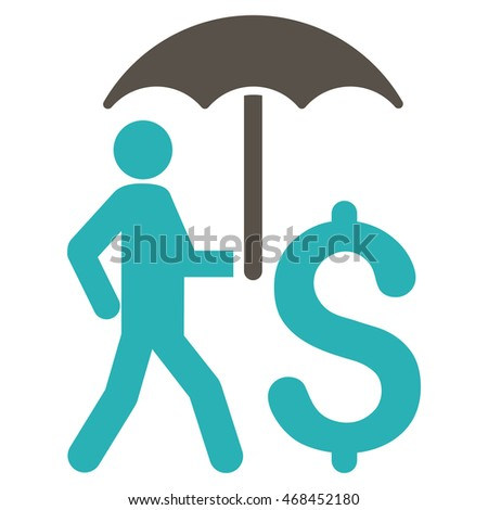 Walking Businessman With Umbrella icon. Glyph style is bicolor flat iconic symbol with rounded angles, grey and cyan colors, white background.