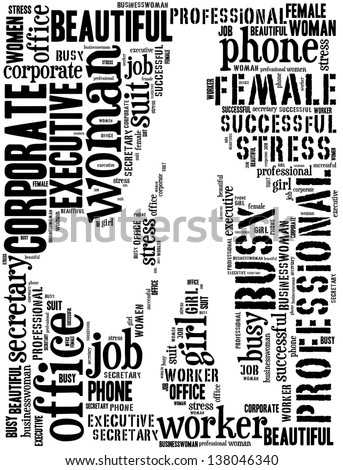 Walking businesswoman info-text graphics and arrangement concept (text/word cloud/word collage)