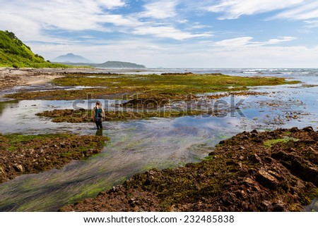 Walking by the ocean shore at the low tide, Kunashir island, Russia - stock photo