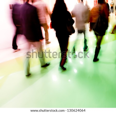 walking city business people abstract background blur motion - stock photo