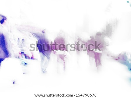 walking city pedestrian crowd on street road abstract - stock photo