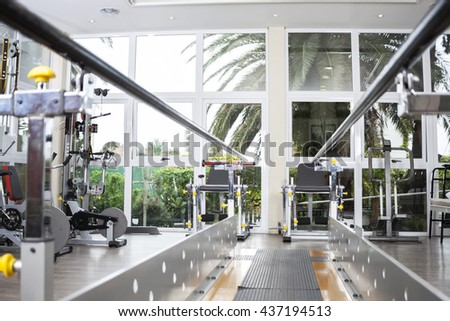 Walking Equipment With Parallel Bars At Rehab Center