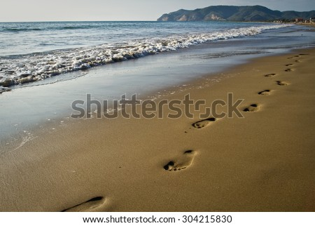 Walking footprints on the beach, concept of summer, vacations, fun - stock photo