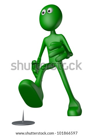 walking green guy  and tack on the floor - 3d illustration