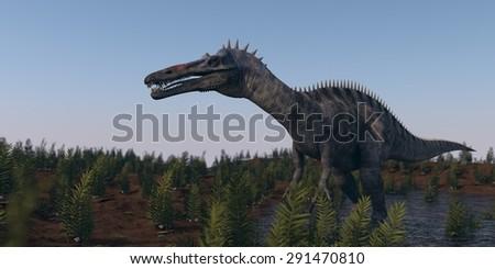 walking hunting suchomimus dinosaurus - stock photo