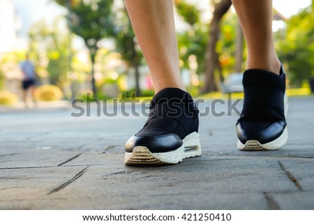 walking in park - stock photo