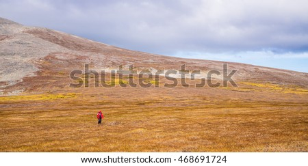 Walking in the arctic Tundra, Russian Far East