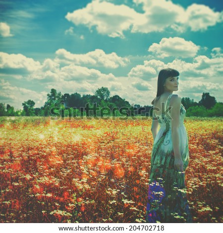 Walking in the Dreams. Female outdoor portrait - stock photo