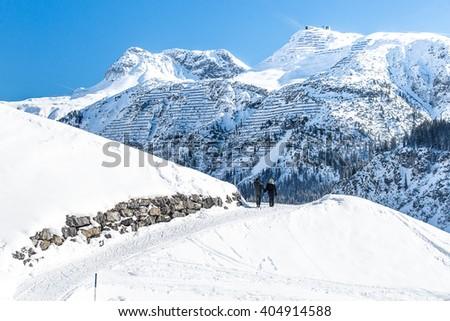Walking in the Snow, Lech Winter Landscape, Austria  - stock photo