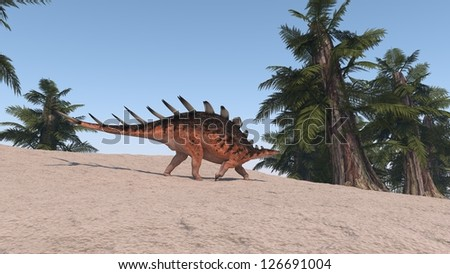 walking kentrosaurus - stock photo