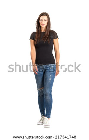 Walking long hair brunette woman front view. Full body length isolated over white. - stock photo