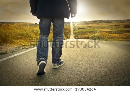 walking man - stock photo