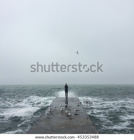 walking man at the sea