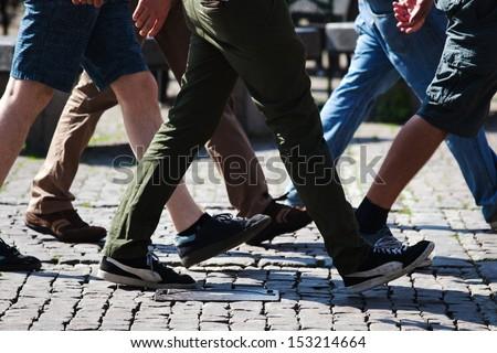 walking men in the city - stock photo