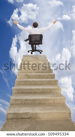 Walking on career ladder  presence on top of the career ladder and enjoy the power and dominance of the results of this work - stock photo