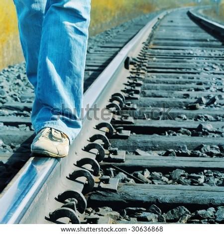 Walking on railroad - stock photo