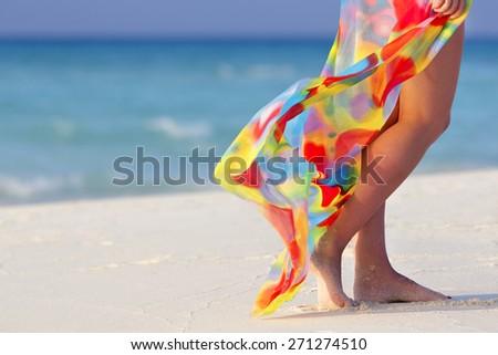 Walking on the beach - stock photo