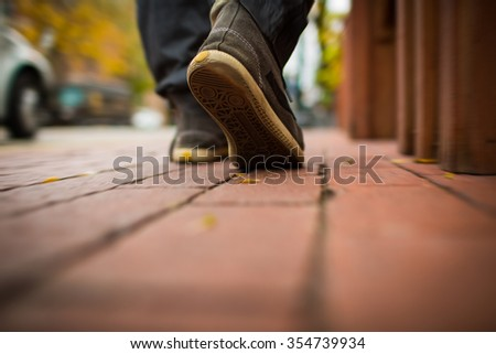 Walking on the road - stock photo