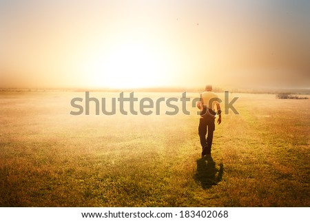 Walking on the sun - stock photo