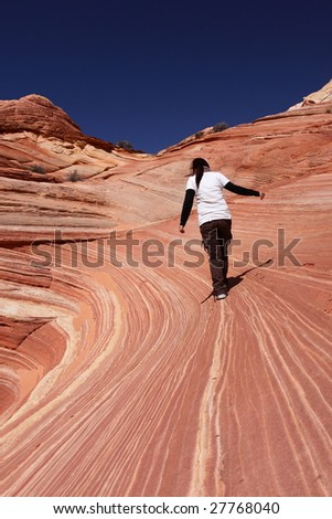 Walking on the Wave - stock photo