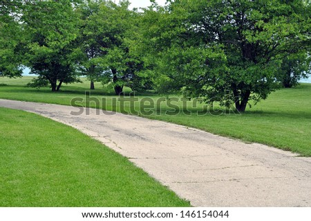 walking path and bike trail - stock photo